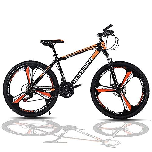 Mountainbike, 24 Zoll-21 Gang Fahrrad Herren, Vollgefedert MTB, Fahrrad Aus Kohlenstoffstahl, Stoßdämpfende Vorderradgabel Sowie Zwei Vorder- Und Hinterradbremsen, Junge, Mädchen Und Herren (Orange)