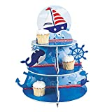 1 X Nautical Sailor Cupcake Holder Stand Size: 16' x 12' diam. by Fun Express blue and white