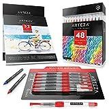 Arteza Watercolor Bundle (Real Brush Pens 48, Watercolor Pads, Water Brush Pens)