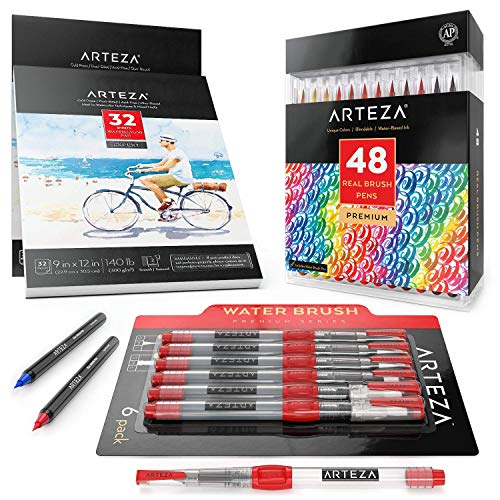 Arteza Watercolor Bundle (Real Brush Pens 48, Watercolor Pads, Water Brush Pens)