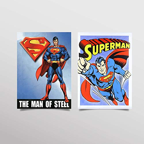 "Superman- Comic Prints Set (2)- 8 x 10""s- Wall Art Prints-Ready To Frame- Classic Comic Book Replica Prints. Perfect Decor for Home- Bar-Dorm-Man Cave. Must Have For All Superman-DC Comic Collectors."
