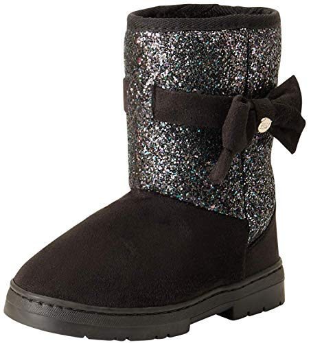 bebe Girls Winter Micro Suede Boots with Rhinestone Embellished Logo & Bow, Black Glitter, Size 6 Toddler