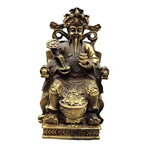 Laojunlu - Silla de bronce con diseño de dragón de Dios de la riqueza de imitación de bronce antiguo, colección de joyas de estilo tradicional chino solitario