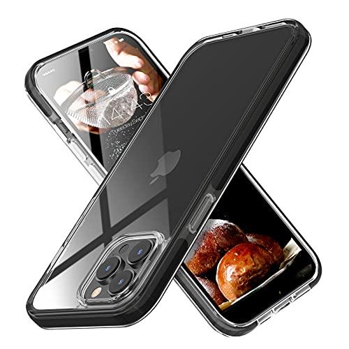 MATEPROX Coque Clair Compatible avec iPhone 13 Pro Max Coque Housse de Protection TPU+TPE Bumper, Ultra Mince Anti-Jaune Antichoc Cover Coque pour iPhone 13 Pro Max 6,7'' 2021-Noir