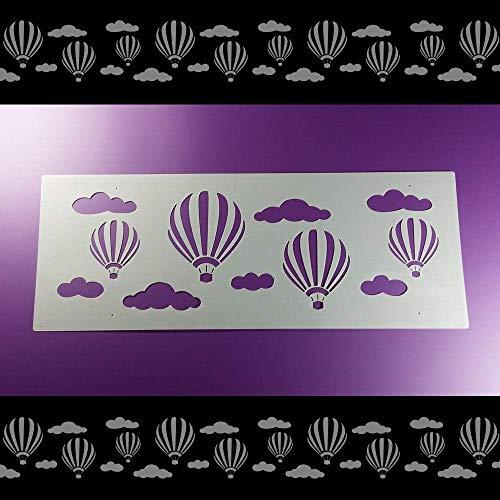 Schablone Bordüre Heißluftballon Wolken Ballon B2B41