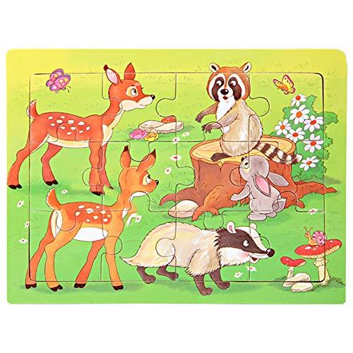 Houten puzzel 2 jaar en ouder Speelgoed Cartoon Cartoon herten konijn vlinder slak Houten legpuzzels Leren speelgoed voor kinderen voor jongens en meisjes cadeau 11 * 15 * 0.3 cm