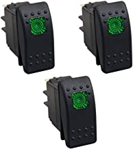XT AUTO 12V 20 Amp 3pins Green Light Rocker Switch Kit 3-pack
