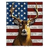 Dawhud Direct American Whitetail Deer Super Soft Plush Fleece Throw Blanket