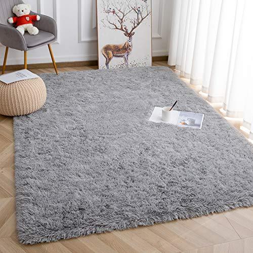 Vasofe Super Soft Kids Room Nursery Rug 4' x 5.9' Gray Area Rug for Bedroom Decor Living Room Floor Carpets Fur Mat