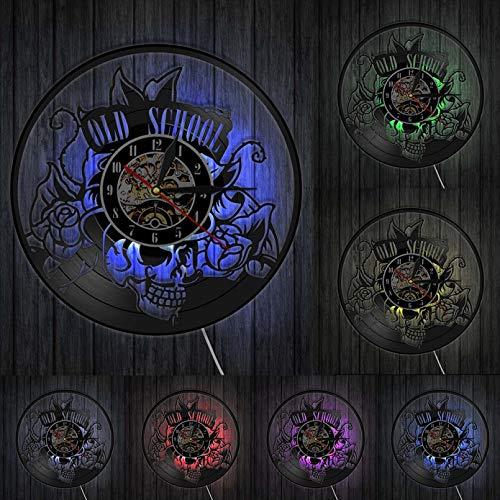 ZZLLL Old School Art Tattoo Studio Letrero de Pared Silencio Disco de Vinilo Reloj de Pared cráneo con Reloj de Flores decoración de Arte de Pared Regalo de Hombre Inconformista - con LED