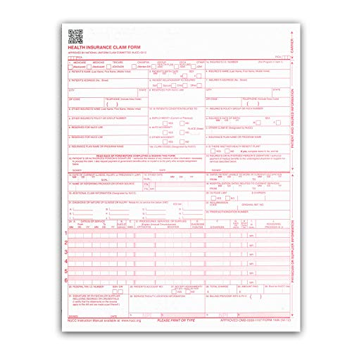 New CMS 1500 Claim Forms - HCFA (Version 02/12) 250 per Ream