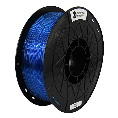 CCTREE Easy Print PETG Filament 1.75 mm 1 kg Spool, Upgrade Stronger Toughness Printing Accuracy +/- 0.03 mm For 3D Printer Creality Ender3v2, Anycubic Mega 3D Printer (Tran-Blue)