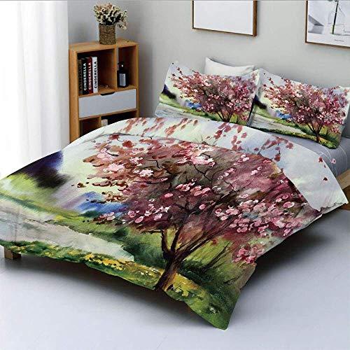 Juego de funda nórdica, pintura del paisaje primaveral Blooming Nature, árbol floreciente y hierba fresca NatureDecorative Juego de cama de 3 piezas con 2 fundas de almohada, rosa verde, el mejor rega