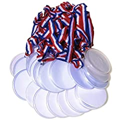 "Customize our own medal You receive 24 medals 2 1/2"" round plastic medal Red white and blue 15"" lanyard"