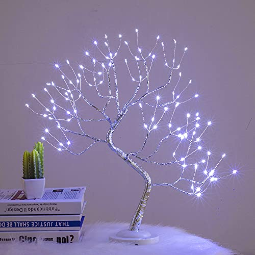 Tabletop Bonsai Tree Light 20 Inch 108 LED Copper Wire Halloween Christmas Night Light, Battery/USB Operated, 6h Timer DIY Adjustable Branches, for Home Decoration Light and Gift (White)