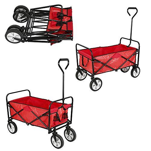 Bollerwagen Faltbar mit 4 Räder, Handwagen Klappbar, Transportwagen für alle Gelände Geeigne Belastbar (Rot)
