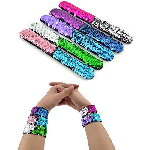 Mermaid Bracelet - 2 Color Reversible Sequin Bracelets –Magic Party Supplies Favors Slap Bracelet For Women, Girls and Kids dancing birthday party.