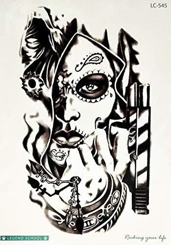 PARITA Big Tattoos Girl Mexican Sugar Skull Day of The Dead with Gun Cartoon Tattoo Fake Stickers Waterproof Design Body leg Arm Shoulder Chest Bottom & Back Make Up for Man Guys Women (1 Sheet.) (02)