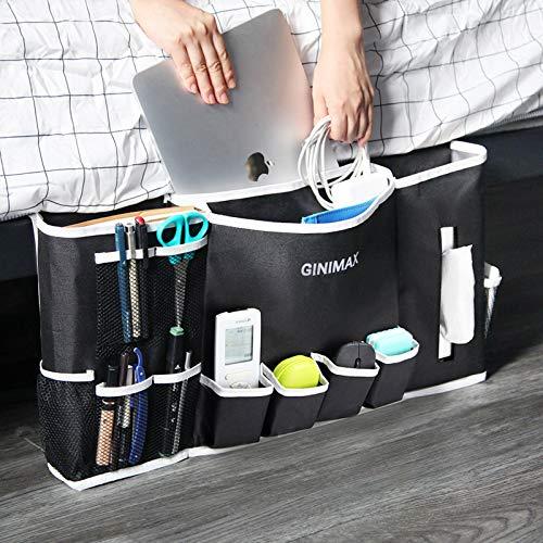 GINIMAX Bedside Storage Pocket - Dorm Room Essentials | Large Size 23'x12' | Under Couch Mattress | Bedside Storage Organizer for TV Remote Control, Mobile Phones, Magazines, Laptops, Glasses