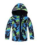 YoungSoul Jungen Gefütterte Regenjacke Gemusterte Wasserdicht Winddicht Windjacke Regenmantel mit Kapuze Dunkelgrün Etikette XL