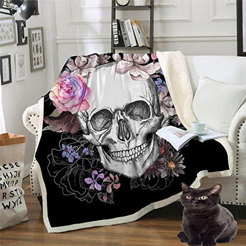Totenkopf Blumen Wohndecken Kuscheldecken Tagesdecke Fleecedecke Sofadecke Schlafdecke Kuschelige Decke für Kinder & Erwachsene Schwarz 150x200cm