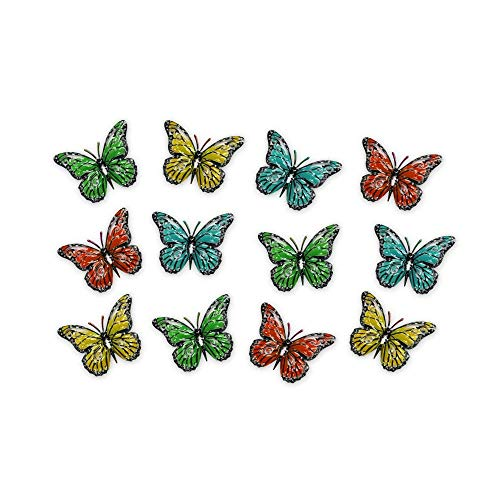 AB Tools Set of 12 Multi-coloured Small Metal Butterflies Garden/Home Wall Art Ornament