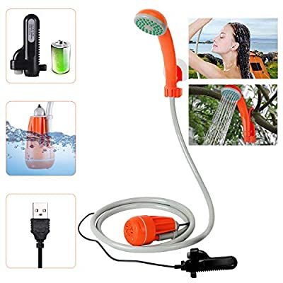 3.7V Portable Camping Shower Pump Outdoor Shower USB Charging Camp Shower Electric Rechargeable Camping Shower Compact Handheld Showerhead, Shower Water Pump from Bucket for Hiking Pet Shower Car Wash