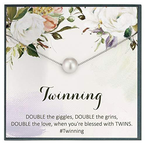 Grace of Pearl Collar Twins, idea de regalo para hermana gemela, collar con cita de hermanos, regalo de joyería sentimental, para regalo de joyería de amistad