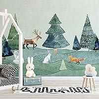 3D写真壁紙手描きエルクの森動物壁画子供部屋寝室の背景壁紙家の装飾-300x210cm