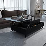 47' x 28' Blair Lift-Top Coffee Table, Black Faux Marble, Durable Environment-Friendly Material, PVC Edge Banding