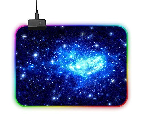 JUNSHUO Mouse Mat, RGB Gaming Mouse Pad, Lichtgevende LED Tafel Muizen Mat met 14 Groepen Verlichtingsmodi, Uitschakelen Geheugen Functie, Anti-Slip Rubber Base en Waterdichte Oppervlak, Galaxy, 35*25*0.4cm