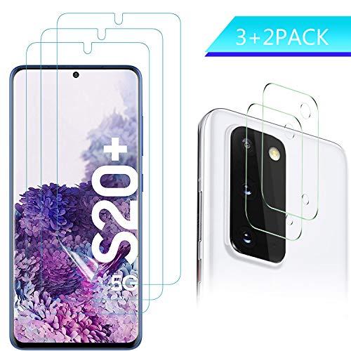 IVSO für Samsung Galaxy S20 Plus Schutzfolie(3 Stück) + Kamera Panzerglas(2 Stück), Anti-Bläschen Transparenz Gehärtetem Weich TPU Displayschutzfolie Schutzfolie für Samsung Galaxy S20(6.7'')