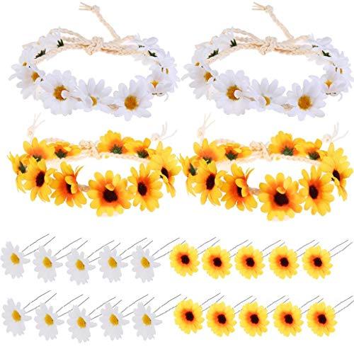 24 Pieces Sunflower Hair Accessories Floral Wreath Headbands Set, Including 4 Pieces Sunflower Headbands, 20 Pieces Sunflower Hairpins for Women and Girls