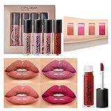 OLesley Ensembles de brillants à lèvres hydratants Glaçage à lèvres 3D imperméable durable Crème hydratante Maquillage de baume à lèvres, ensemble de rouge à lèvres antiadhésif Cadeaux pour femmes