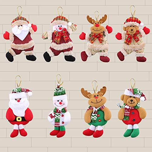 Christmas Plush Ornaments, 8 pcs Hanging Ornaments, Santa Claus, Snowman, Reindeer, Bear, Christmas Tree Hanging Ornaments for Home, Christmas Ornaments Set, Gifts for Kids, Coworkers, Friends