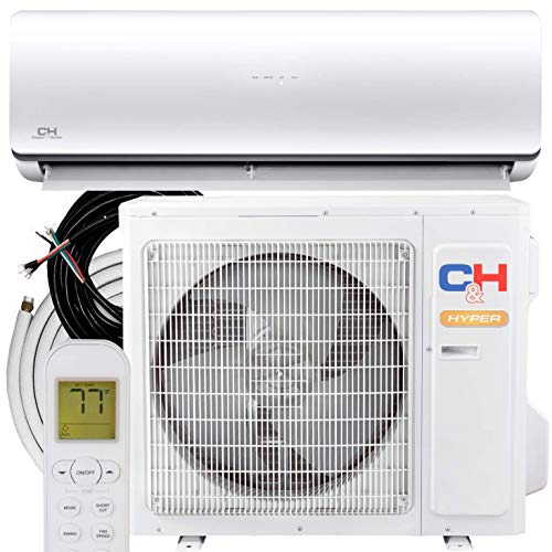 Hyper Heat 24,000 BTU 20.5 SEER 11.5 HSPF Ductless Mini-Split Air Conditioners -22F Heat Pump Dakota Series with 25FT Installation Kit