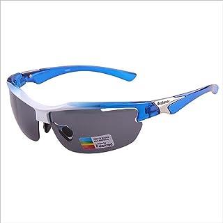 Sports Sunglasses Classic PC Polarized Lenses Half Frame for Outdoor Men Women Cycling Driving Anti-UV Non-Slip (Color : Gray)