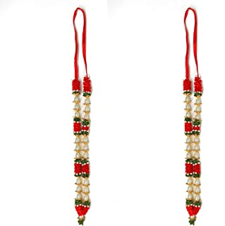 Aditri Creation Set of 2 Artificial Flowers Ribbon Garland Haar Mala Large Pink for Idol-Mala for God, Pooja Sringar Artic...