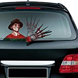 Meitinalife Halloween Bloody Freddy Waving Wiper Decal for Rear Window 3D Cartoon Animated Festive Car Sticker Vinyl Decal for Vehicle Rear Wipers Halloween Decoration