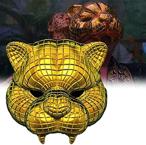 SUGAN Máscara de juego de calamar para hombre enmascarado, máscara de disfraz de juego de calamar, accesorios de máscaras de supervivencia real 2021, accesorios de máscara de Halloween (oro)