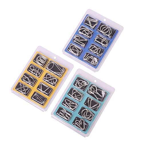 wohnen-freizeit 24tlg. Knobelspiele Set, Metall Knobelspiele IQ Spiele Puzzle 3D Geduldspiele Denkspiel Brainteaser Puzzle Metallpuzzle