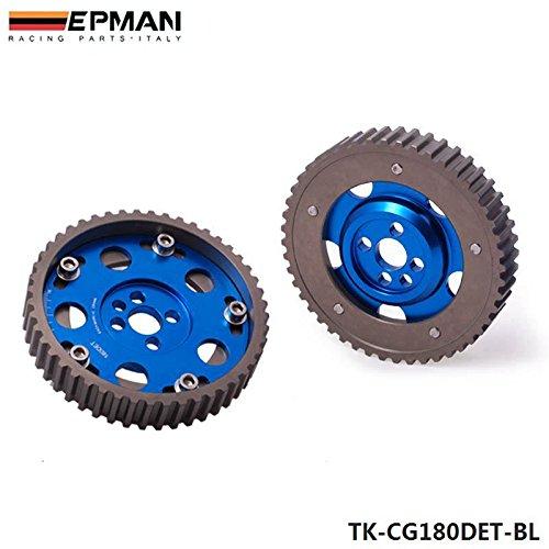 EPMAN Slide Adjustable Cam Gear Pulley Cam Pulley Set For Nissan CA18DET CA18DE (Blue, Pack Of 2)