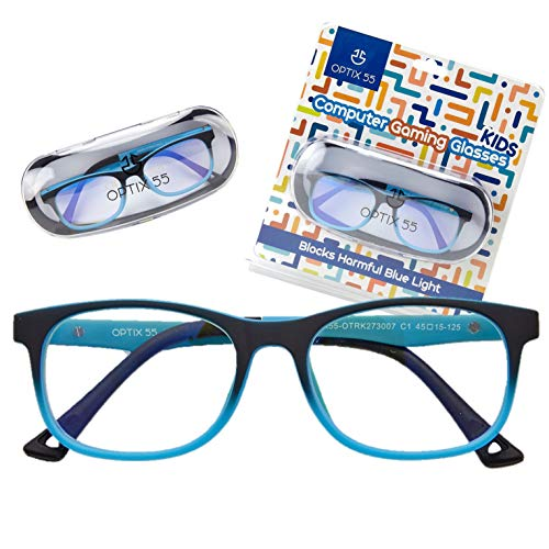 Kids Blue Light Blocking Glasses - Anti Eyestrain - Computer Video Gaming Eyeglasses for Boys & Girls - Bendable & Unbreakable Flexible Blue Square Frame Eye Glasses (Blue)