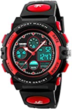 Kids Digital Watch Age 5-15, Red Watches for Girls Boys, Sports Waterproof Watches for Kids Birthday Presents Gifts for 5-12 Year Old Children Young Teen Electronic Watches with Alarm Stopwatch