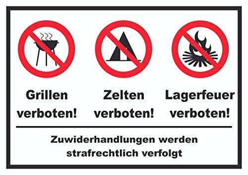 HB-Druck Grillen Zelten Lagerfeuer verboten Schild A4 (210x297mm)