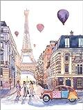 Poster 30 x 40 cm: Eiffelturm und Citroen 2CV in Paris von