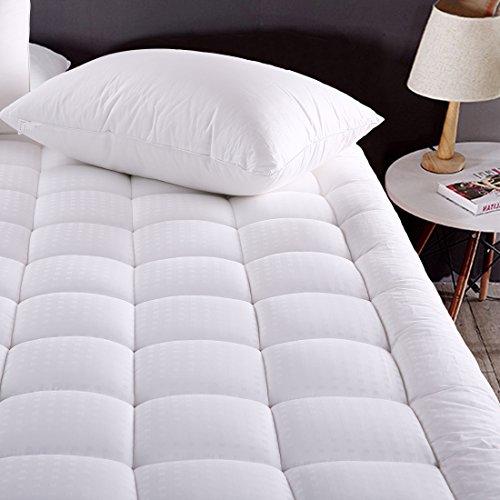 MEROUS Queen Size Cotton Mattress Pad - Pillow Top Quilted Mattress Topper,Fitted 8-21 Inch Deep Pocket Mattress Pad Cover