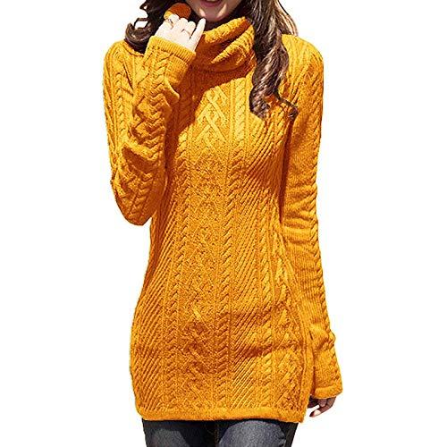 Moda Sudaderas Jersey Sweater Vestido De Suéter Largo para Mujer, Jersey De Cuello Alto De Otoño, Jersey Grueso De Punto, Jersey De Invierno Ajustado Vintage Cálido, Suéter XXL De Jengibre