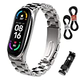 BDIG Correa Compatible Mi Band 5/6 Correas Metal, Mi Band 4/3 Pulsera de Acero Inoxidable Agradable para Mi Band 6/5/4/3 Correa (No Host)