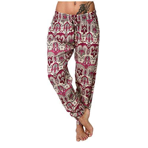 NP Pantalones rectos con cordón elástico impreso para mujer Pantalones casuales sueltos de lino de cintura media